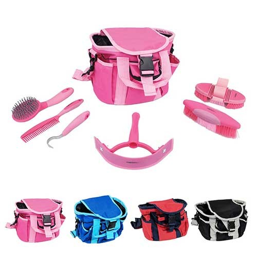 pink grooming kit including bad and brushes