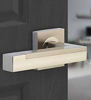A Square Lever on Square Rose Interior Door Handle from the Horizon range