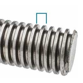 A close up picture of  a rod of threaded bar showing pitch of the thread